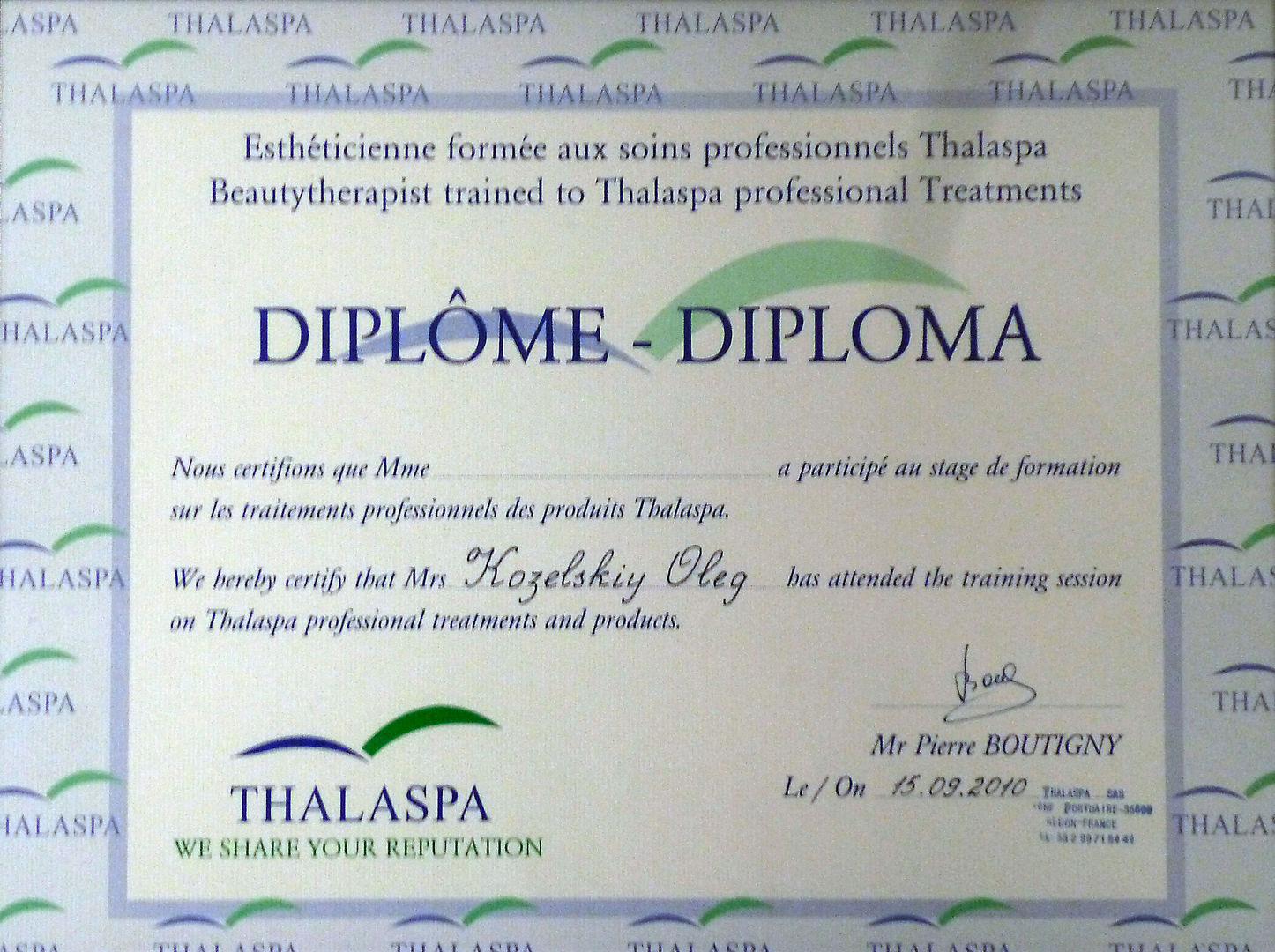 Диплом thalaspa Франция Лицензии и сертификаты studio relax  Диплом thalaspa Франция