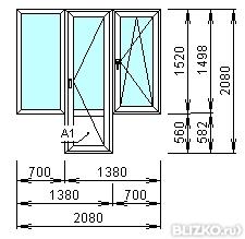 Балконный блок в 2 стекла с глухим окном в панельном доме от.