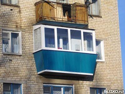 Остекление балкона 3м., обшивка проф-листом от компании вект.