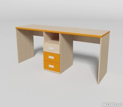 Письменный стол двойной для школьников, дуб молочный/манго (.